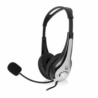 Ewent Stereo with microphone and volume control Headset - Zwart, zilver
