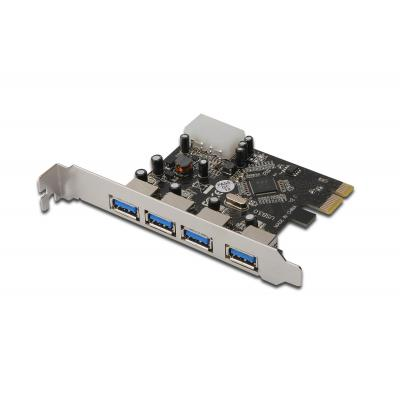 Digitus interfaceadapter: 4-Port USB 3.0, PCI Express, Add-on Card