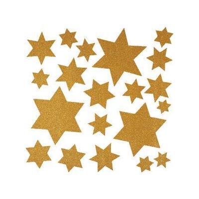 Herma sticker: Window decoration Christmas stars glittery gold 30x30 cm - Goud