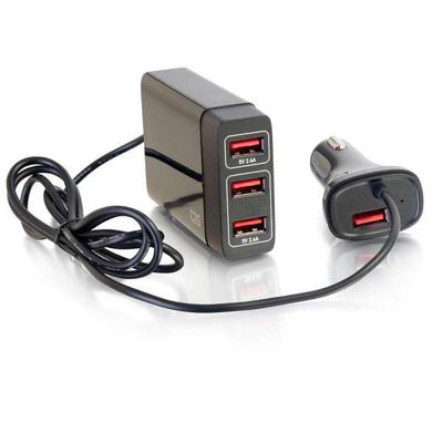 C2G 4-poorts USB-autolader met verlengstuk voor passagiers, 5.8 A-uitgang Oplader - Zwart
