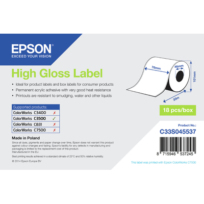 Epson etiket: High Gloss Label - Continuous Roll: 76mm x 33m