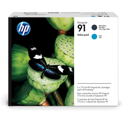 HP 91 Value Pack 775-ml Matte Black/Cyan DesignJet Ink Cartridges/Printhead Printkop - Zwart,Cyaan