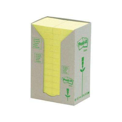 Post-it zelfklevend notitiepapier: Notitieblok recycled 38x51mm geel/pak 24