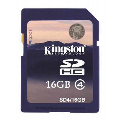 Kingston Technology flashgeheugen: 16GB SDHC Card - Blauw