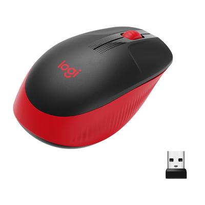 Logitech M190 Full-Size Wireless Mouse Muis - Zwart,Rood