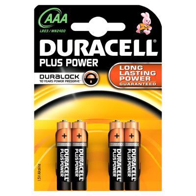 Duracell batterij: AAA Plus Power batterijen (4 stuks) - Zwart, Oranje