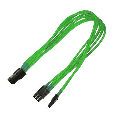 Nanoxia 1 x 6+2-Pin PCI-E (male), 1 x 6-Pin PCI-E (female), 0.3 m, neon-green - Groen