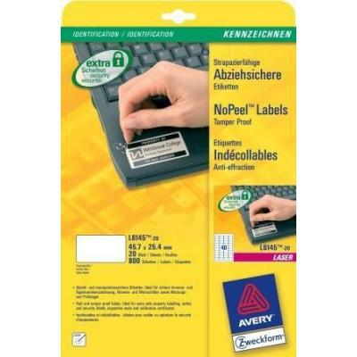 Avery Etichette Non Rimovibili, Laser, Bianco, 800pcs. Etiket - Wit