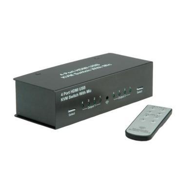 Value KVM Switch, 1 User - 4 PCs, HDMI, USB, Audio; USB Hub, Matrix KVM switch - Zwart