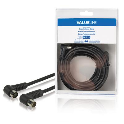 Valueline Coax antennekabel, coax mannelijk gehoekt - coax vrouwelijk gehoekt, 10.0 m, zwart Coax kabel