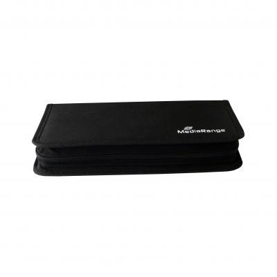 Mediarange : Media storage wallet for 48 discs, nylon, black - Zwart