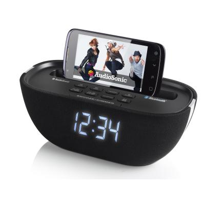 "Audiosonic radio: Klokradio Bluetooth, USB, 2.286 cm (0.9 "") LCD, Aux-in, 3.5m, 2x3W - Zwart"