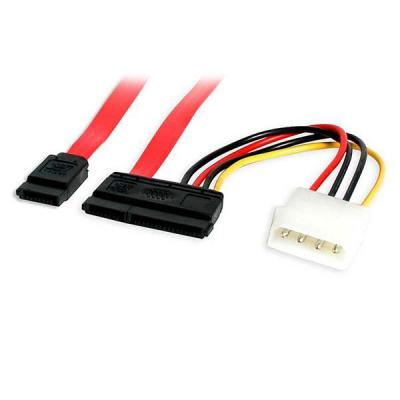 Startech.com ATA kabel: 15cm SATA Data en Voeding Combokabel - Rood