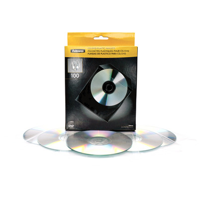 Fellowes 100x CD/DVD Plastic Envelop - Transparant, Wit