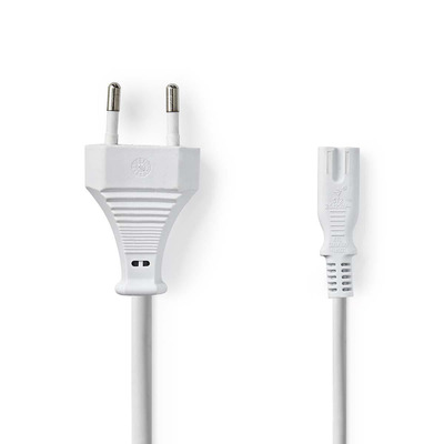 Nedis Power Cable, Euro Plug - IEC-320-C7, 3.0 m, White Electriciteitssnoer - Wit