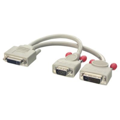 Lindy DVI-I/DVI-D + VGA Monitor Cable DVI kabel  - Grijs
