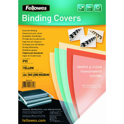 Fellowes Transparante PVC dekbladen - 200 micron, A4, geel Binding cover - Transparant,Geel