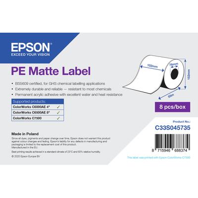 Epson PE Matte Label - Continuous Roll: 102mm x 55m Etiket - Wit