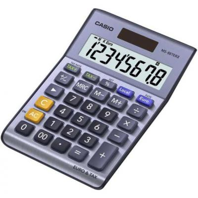Casio calculator: 8-cijferige, 1 х LR54, 115g - Zwart, Blauw, Grijs