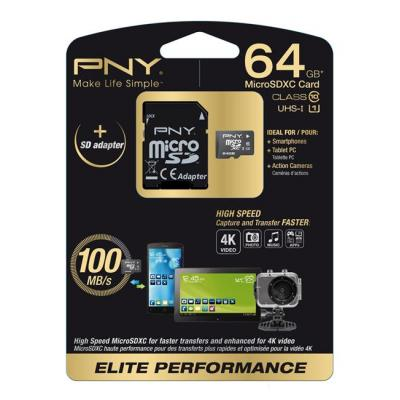 Pny flashgeheugen: 64GB MicroSD - Zwart, Wit