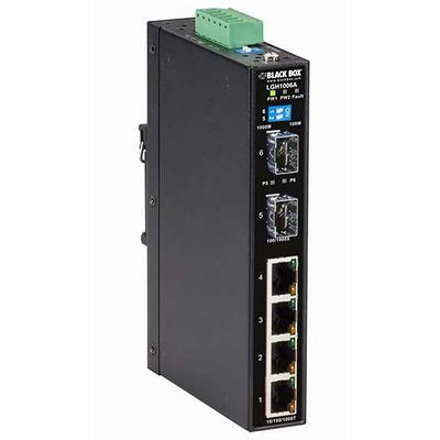 Black Box 10/100/1000 Mbps 4x RJ-45, 100/1000Base-X 2x SFP, IP30, 26.1 x 94.9 x 144.3 mm, 410 g Switch - Zwart