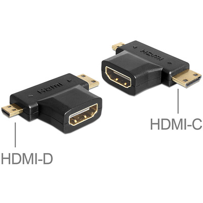 DeLOCK Adapter HDMI-A female > HDMI-C + HDMI-D male Kabel adapter - Zwart
