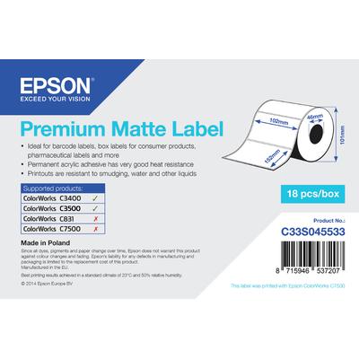 Epson etiket: Premium Matte Label - Die-cut Roll: 102mm x 152mm, 225 labels