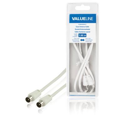 Valueline coax kabel: Coax antennekabel, coax mannelijk - coax mannelijk, 1.00 m, wit