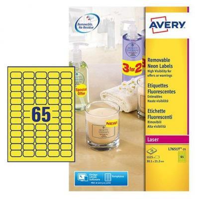 Avery White Mini Label - Laser - L7651 Etiket - Geel