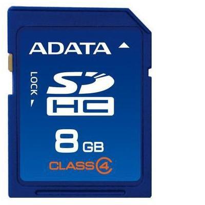 Adata flashgeheugen: SDHC 8GB Class 4 - Blauw