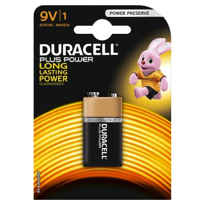Duracell batterij: Plus Power, 9V, alkaline