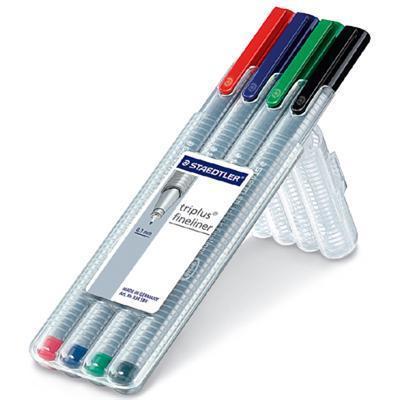 Staedtler pen: 334 SB4 - Zwart, Blauw, Groen, Grijs, Rood