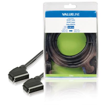 Valueline : SCART, 3m - Zwart