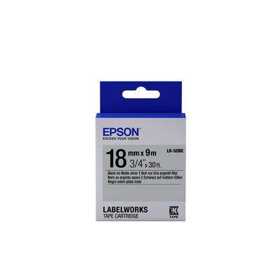 Epson Matte Tape - LK-5SBE Matte Blk/MattSiv 18/9 Labelprinter tape