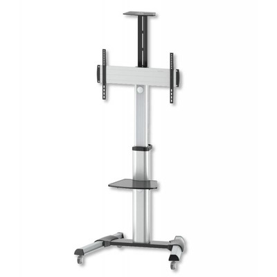 """Techly Floor Support Trolley for LCD / LED / Plasma 37-70"""" with Shelf TV standaard - Zilver"""