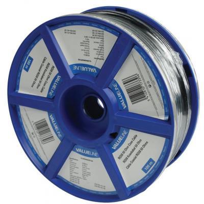 Valueline 100m, 5mm Coax kabel - Zwart