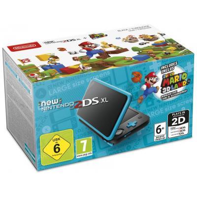 Nintendo portable game console: 2DS XL + Super Mario 3D Land - Zwart, Turkoois
