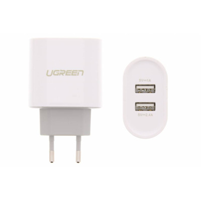 2-Poorts Wall Charger 3,4 ampère - Wit / White Mobile phone case