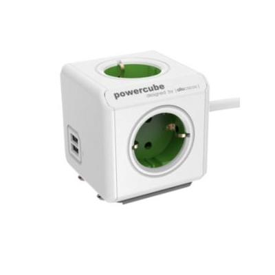 Allocacoc power extrention: PowerCube Extended USB, Type F, 1.5m, green - Groen, Wit
