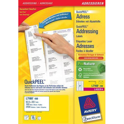 Avery adreslabel: QuickPEEL Adresetiketten, Laser/Inkjet/Kleurenlaser, 2100pcs. - Wit