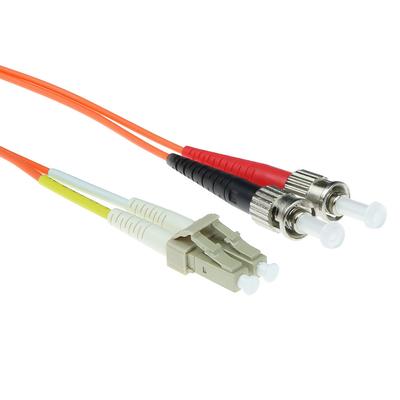 ACT 50m LSZHmultimode 62.5/125 OM1 glasvezel patchkabel duplexmet LC en ST connectoren Fiber optic kabel - Oranje