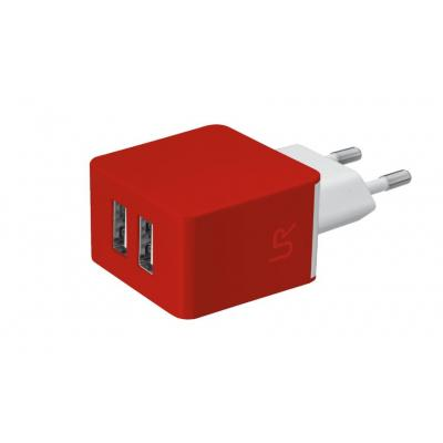 Urban revolt oplader: Universal dual USB wall charger to charge 2 smartphones at the same time, Red - Rood