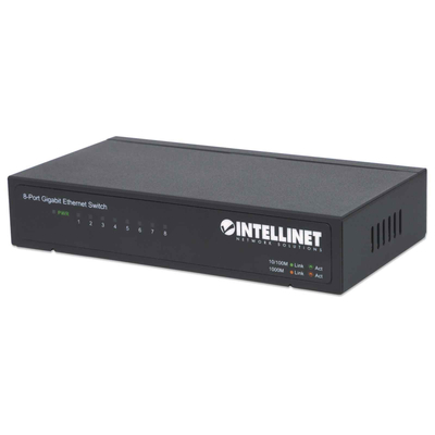 Intellinet 8-Port Gigabit Ethernet, Metal (Euro 2-pin plug) Switch - Zwart