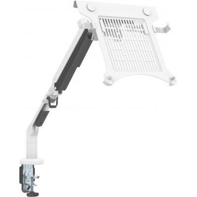 Vision White Desk Arm With Shelf, Aluminium
