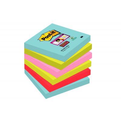 Post-it zelfklevend notitiepapier: 654-6SS-MIA - Aqua colour, Limoen, Roze, Rood