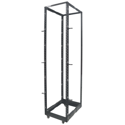 "Intellinet 19"" 4-Post Open Frame, 45U, Max 360kg, Flatpack, Black Rack - Zwart"