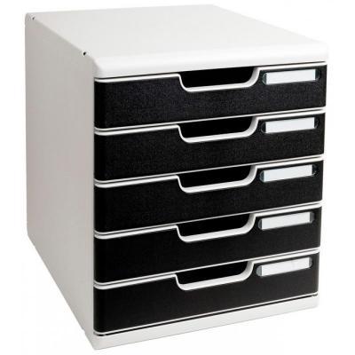 Exacompta brievenbak: Modulo A4 - 5 Drawer Classic, Black/Grey - Zwart, Grijs