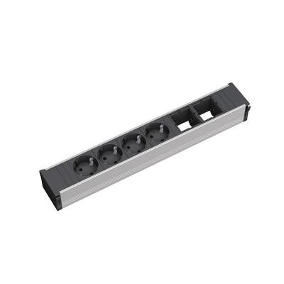 Bachmann power extrention: CONI 6-way: 2x custom modules, 4x power socket outlet - Zwart, Zilver