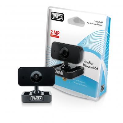 "Sweex webcam: USB 2.0, 2 MP, 1/4"" CMOS, 1600 x 1200 - Zwart"