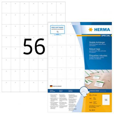 Herma label: Robust tags A4 30x37 mm white paper/film/paper perforated non-adhesive 5600 pcs. - Wit